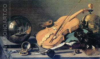 Vanitas Stilleben Mit Glaskugel 1625 - Pieter Claesz reproduction oil painting