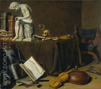 Vanitas Still Life 1628 - Pieter Claesz reproduction oil painting