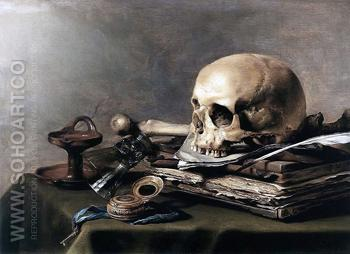 Vanitas Still Life 1630 - Pieter Claesz reproduction oil painting