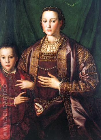 Eleonora of Toledo and Her Son Francesco 1549 - Agnolo Bronzino reproduction oil painting