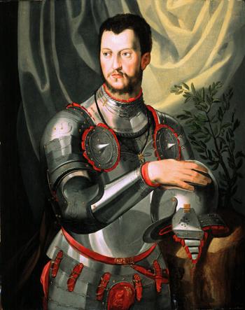 Portrait of Cosimo I De Medici in Armor - Agnolo Bronzino reproduction oil painting