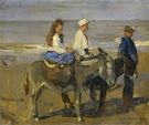 Boy and Girl Riding Donkeys - Isaac Israels reproduction oil painting