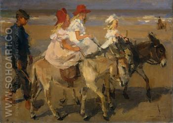 Donkey Riding on the Beach - Isaac Israels reproduction oil painting