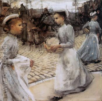 Girls of the Munt Sun - Isaac Israels reproduction oil painting