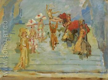 Revue Dancers in the Scala Theatre - Isaac Israels reproduction oil painting