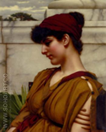 A Classical Beauty in Profile - John William Godward reproduction oil painting