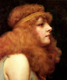 An Anburn Beauty - John William Godward reproduction oil painting