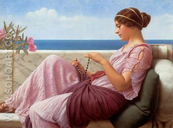 A Souvenir 1920 - John William Godward reproduction oil painting