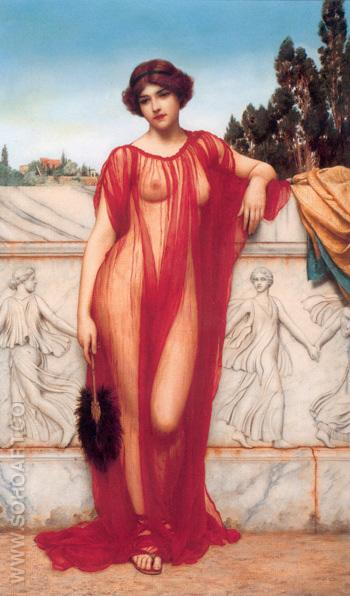 Athenais 1908 - John William Godward reproduction oil painting