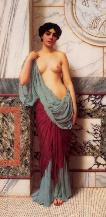 At the Thermae 1909 - John William Godward reproduction oil painting