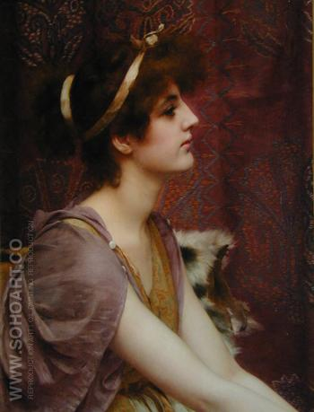 Classical Beauty Cropped - John William Godward reproduction oil painting