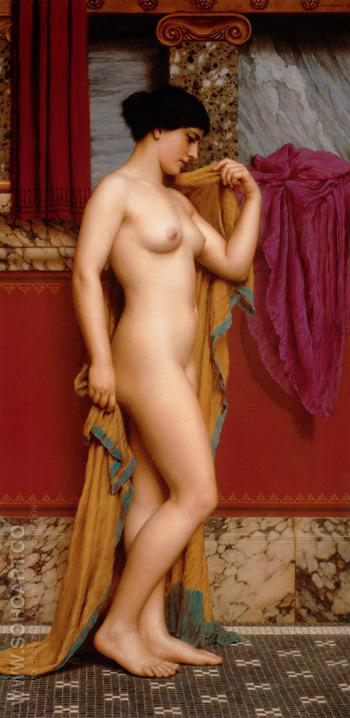 In the Tepidarium 1913 - John William Godward reproduction oil painting