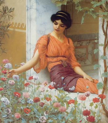 Summer Flowers 1903 - John William Godward reproduction oil painting