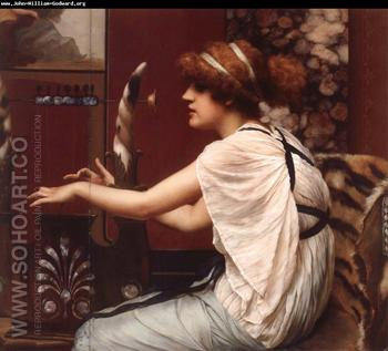The Muse Erato at Her Lyre 1895 - John William Godward reproduction oil painting