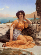 With Violets Wreathed and Robe of Saffron Hue - John William Godward