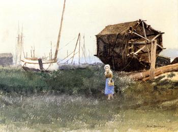 The Fisher Girl Nantucket 1881 - Dennis Miller Bunker reproduction oil painting