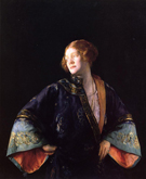 The Blue Mandarin Coat Aka The Blue Kimono - Joseph de Camp reproduction oil painting