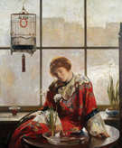 The Red Kimono c1919 - Joseph de Camp reproduction oil painting