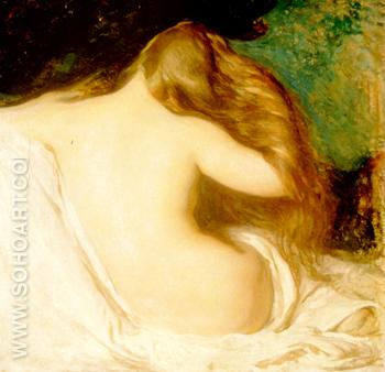 Woman Drying Her Hair - Joseph de Camp reproduction oil painting