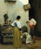 At The Water Trough - Julian Alden Weir reproduction oil painting