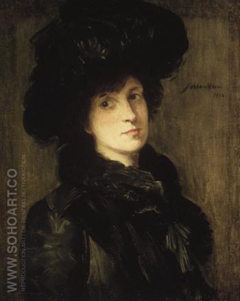 Girl In Black 1910 - Julian Alden Weir reproduction oil painting