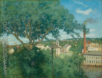 The Factory Village 1897 - Julian Alden Weir reproduction oil painting