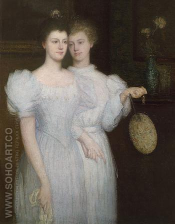 The Two Sisters c1890 - Julian Alden Weir reproduction oil painting