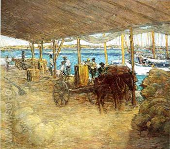 The Wharves Nassau - Julian Alden Weir reproduction oil painting