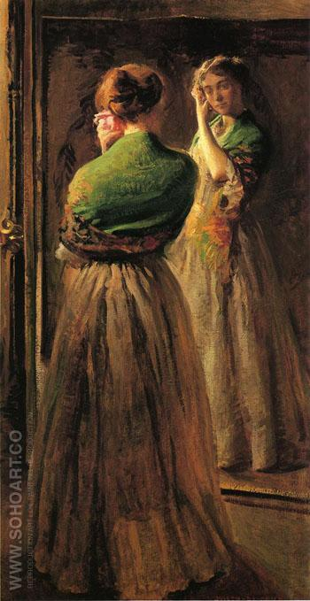 Girl with a Green Shawl - Joseph de Camp reproduction oil painting
