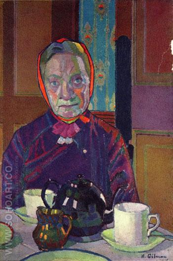 Mrs Mounter at the Breakfast Table c1916 - Harold Gilman reproduction oil painting