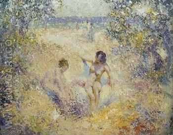 Nude in a Sandy Cove - William Henry Clapp reproduction oil painting