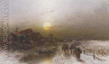 Dorf Im Winter Bei Morgendammerung 1897 - Desire Thomassin reproduction oil painting
