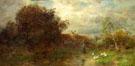 Impressionist Landscape Figures Ducks - Desire Thomassin