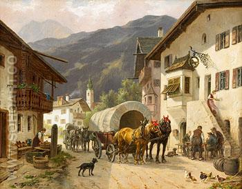 Rest at Midday in an Alpine Village - Desire Thomassin reproduction oil painting