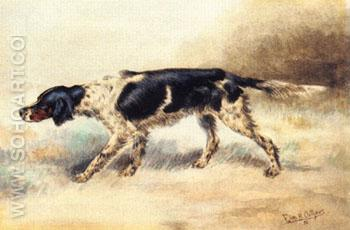 An English Setter at Point - Edmund Henry Osthaus reproduction oil painting