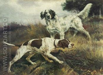 A Pointer and English Setter - Edmund Henry Osthaus reproduction oil painting