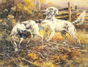 English Setters in the Field - Edmund Henry Osthaus reproduction oil painting