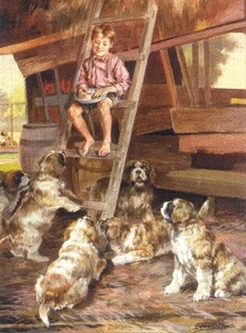 Feeding the Dogs Saint Bernards - Edmund Henry Osthaus reproduction oil painting