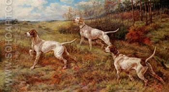 Hunting in the Fall Three Pointers - Edmund Henry Osthaus reproduction oil painting