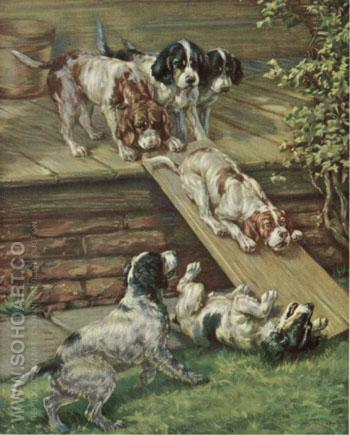 Playfull Puppies - Edmund Henry Osthaus reproduction oil painting