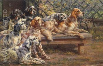 Seven English Setters - Edmund Henry Osthaus reproduction oil painting