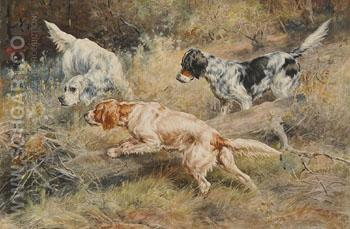 Three Dogs in the Hunt - Edmund Henry Osthaus reproduction oil painting