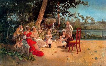Familiar Scene in the Garden - Eugenio Lucas Villamil reproduction oil painting