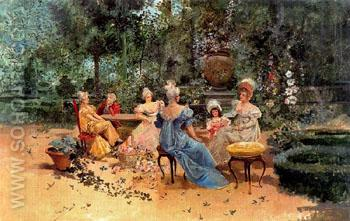 Familiar Scene in the Garden A - Eugenio Lucas Villamil reproduction oil painting