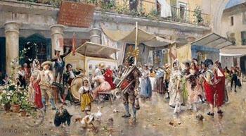 Mercado de la Cebada Madrid Cebada Market in Madrid - Eugenio Lucas Villamil reproduction oil painting