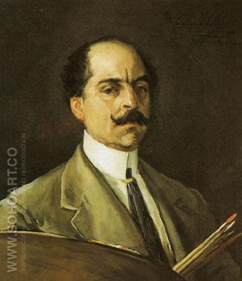 Self Portrait of Eugenio Lucas Villamil Light Suit 1910 - Eugenio Lucas Villamil reproduction oil painting