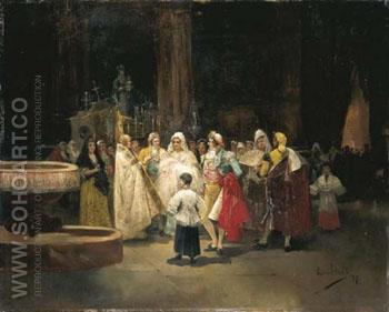 The Baptism 1899 - Eugenio Lucas Villamil reproduction oil painting