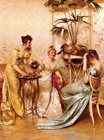 The Tea Party - Frederic Soulacroix reproduction oil painting