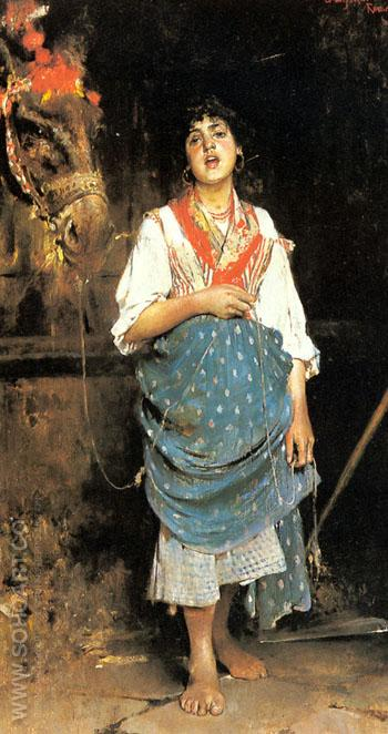 A Peasant Girl with a Horse - Gaetano Esposito reproduction oil painting