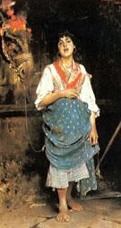 A Peasant Girl with a Horse - Gaetano Esposito